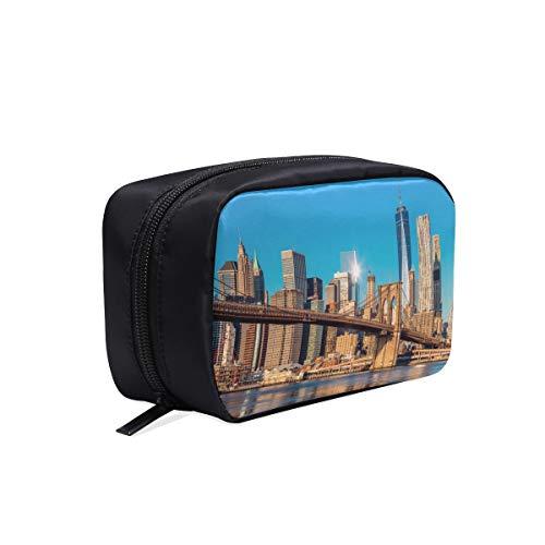 New York City Skyline über Fluss tragbare Reise Make-up Kosmetiktaschen Organizer Multifunktions Fall kleine Kulturbeutel für Frauen und Männer Pinsel Fall