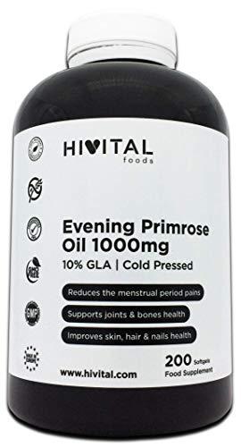 Aceite de Onagra 1000 mg con 10% GLA y Vitamina E | 200 perlas de Aceite Vegetal (Más de 6 meses de suministro) | Reduce los dolores menstruales y mantiene los huesos, piel, cabello y uñas saludables.