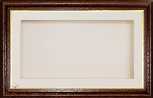BabyRice groß 17,8x 33cm/33x 17,8cm Display Holz Box Rahmen in Mahagoni Gold Trim wirken, mit Die Passepartout und Rückseite, Glas-Front, 36,8x 21,6cm (Holz Trim-boxen)