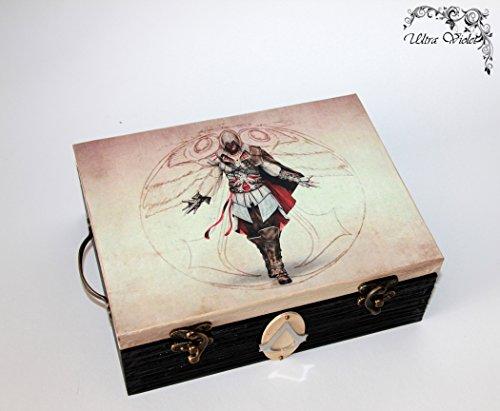 Uhrenbox für 6 Uhren Assassin's creed, Uhrenschatulle, Uhrenkasten ,Uhrenkoffer aus Holz, für Uhren, Uhrenaufbewahrung , Holzbox, schachteln, Holzkästchen, Handarbeit.
