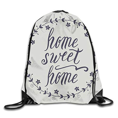 EELKKO Drawstring Backpack Gym Bags Storage Backpack, Circular Frame with Little Flowers Leaves and Hand Written Text,Deluxe Bundle Backpack Outdoor Sports Portable Daypack -