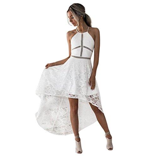 Sommerkleid Damen,Hevoiok Formal Partykleid Spitze Sexy Brautjungfer Hochzeit Ballkleid Cocktailkleid Frauen Elegant Midikleid (Weiß, M) (Kleid Ballkleid Formal)