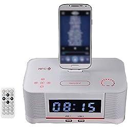Station d'accueil Radio-réveil,XBCC Dock Haut-Parleur Bluetooth sans Fil Station de Charge pour Radio FM Dock et Convient au téléphone Portable Samsung s4 et Android 4.1-Blanc