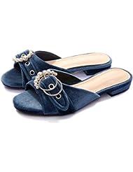 NobS Correa de tobillo de hebilla de cinturón de perlas de la nueva moda de verano de moda de tacón bajo cómodo zapatos de gran tamaño de Oxford pantuflas de fondo , blue , 34