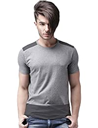 Urban Army Men's Grey and Black Melange Round Neck Half Sleeve Cotton T-Shirt