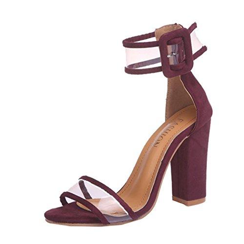 Thong-plattformen, High-heel Sandale (Damen Sandalen Sommer Btruely Mode Hochhackige Schuhe Damen Fesselriemen Schuhe High Heels Sandalen Ferse Schnalle High Heels Schuhe Mädchen Knöchel Plattformen Schuhe (43, Weinrot))