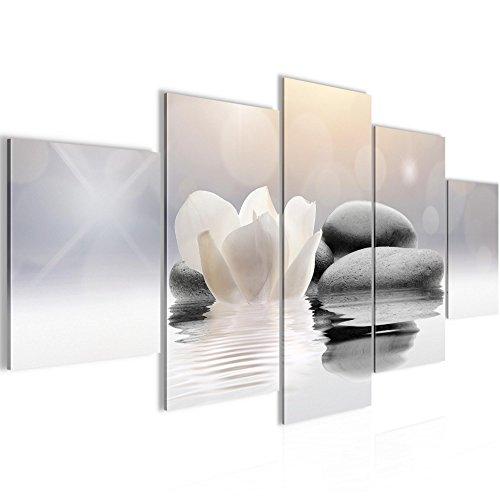 Bilder Blumen Tulpen Wandbild Vlies - Leinwand Bild XXL Format Wandbilder Wohnzimmer Wohnung Deko Kunstdrucke Grau 5 Teilig - MADE IN GERMANY - Fertig zum Aufhängen 506052a