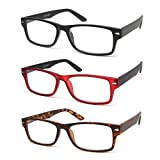 QDOS 3-Pack Reading Glasses Matte Finish for a Smooth Feel and Spring Hinge Design Rectangle Classic Frame (2.0)