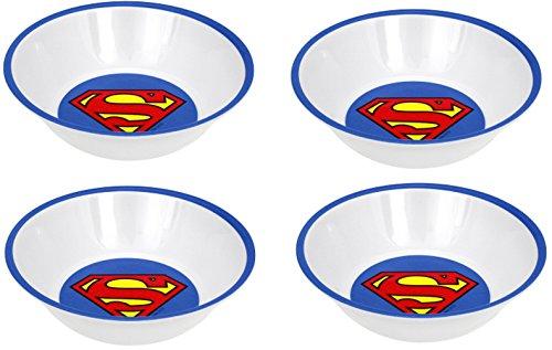 Superhero Snack Größe Melamin Teller und Schalen Sets Batman, Superman, Man Of Steel, Cape Crusader, Warner Bros. DC Comics SUPERMAN LOGO Bowl Set (4)