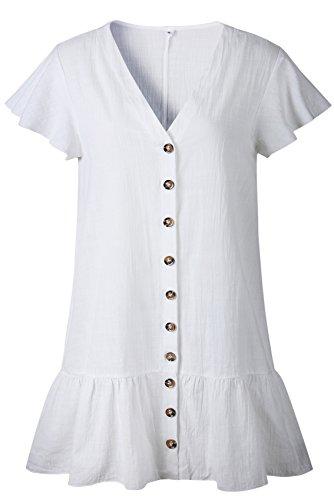 SZIVYSHI Kurzarm Tiefer V-Ausschnitt Knopfleiste Vorne Rüschensaum Volant Rüschen Saum Minikleid Mini Hängerkleid Trapez Kleid Weiß S Damen Flutter Sleeve Dress