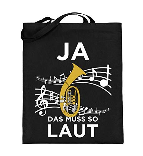 Shirtee Für alle, die Tenorhorn lieben! - Jutebeutel (mit langen Henkeln) -38cm-42cm-Schwarz