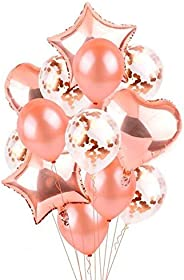 14 in 1 /set Rose Gold Star Heart Foil Balloons Air Wedding Decoration Helium Balloon Happy Birthday Party Dec