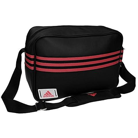 Adidas Emaille Messenger Bag Small Schwarz/Pink Sports Flight Tasche Gymbag Kitbag, schwarz / rosa, H: 33cm; W: 22cm; D: 10cm.