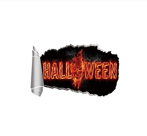 Wall Sticker Party Waterproof PVC Self Adhesive Halloween Decor Multipurpose Skull Flames Funny Home Removable DIY Easy Apply