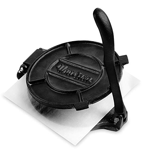 Uno Casa Cast Iron Tortilla Press - 8 Inch (20cm) Taco Press, Pre-Seasoned Tortilla Maker with 100 Pcs Parchment Paper