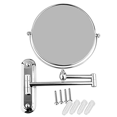 Floureon Chrome Wall Mounted 8 Inches Cosmetic Doubles Sides Make Up Mirror Foldable and Height-adjustable Shaving Bathroom Mirror (5x Magnification)