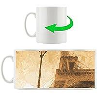 Torre Eiffel a Parigi con la lanterna dipinta tazza motivi in ??bianco 300ml ceramica, grande idea regalo per ogni occasione. La tua nuova tazza preferita per caffè, tè e bevande calde.