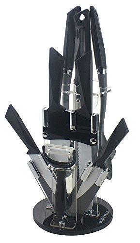 NEUE VERSION: JOLTA® / SCHÄFER 8 tlg . edles Messerset aus Edelstahl im Acrylständer / Messerblock (Rot) (Schwarz)