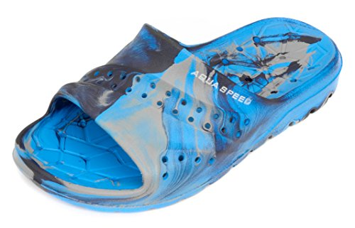Aqua Speed Badelatschen Für Kinder - Schwimmbadschuhe - Anti-Rutsch-Sohle - Sehr Leicht - #As Patmos, 01 Blau/Grau, 33