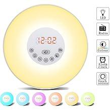 Despertador Digital Alarma de Reloj Amanecer y Atardecer LED Wake Up Light Lámpara de Mesa Cama Luz Nocturna, Sonidos Naturales, Función Sleep, Radio FM (6 colores, control táctil) (Viejo)