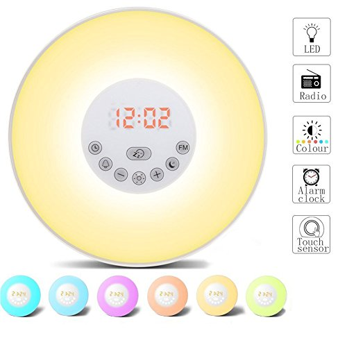 Wake Up Light, Lichtwecker Wecker LED mit Sonnenaufgang Simulation, Natur Sounds, Tagelichtwecker mit Intelligente Schlummerfunktion, FM Radio, Touch Control, 7 Farbige LED 10 Dimmstufen (Vii Extreme)
