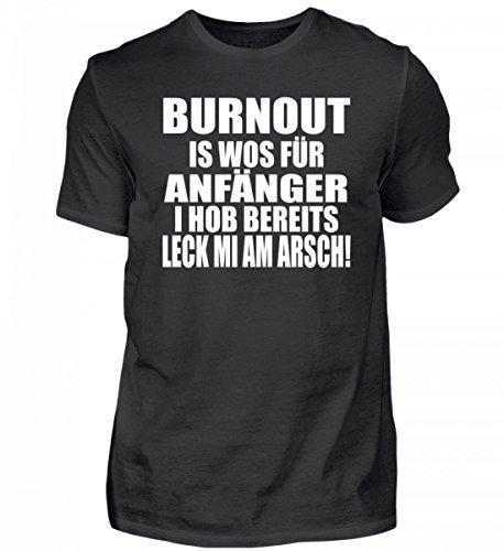 Shirtee Hochwertiges Herren Burnout is Wos für Anfänger - Bayerisch · Boarisch · Bayrisch Lustig · Spruch · Pulli · Jacke · Hoodie Geschenk (Burnout T-shirt Herren)