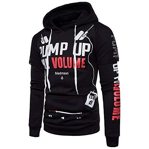 MRULIC Herren Langarm Streetwear Hoodie Sweatshirt Tops Oberbekleidung mit Kapuze Pullover RH-013(Schwarz,EU-46/CN-L) -