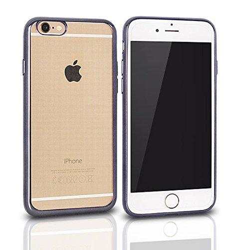 "CLEAR CASE für Apple iPhone 7 4,7"" Hülle Etui Flip Cover Silikon Tasche Back Case Transparent (grau) grau"