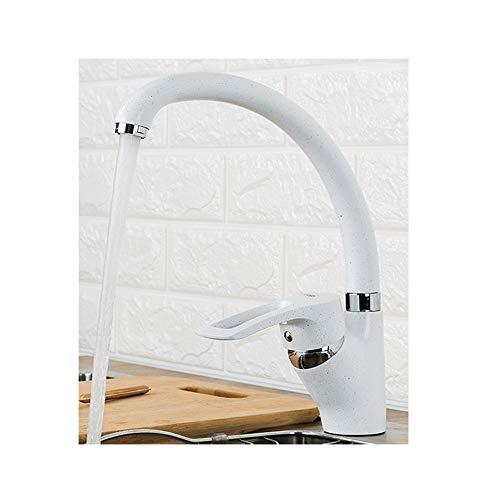 PINCHU Multi-Color-Küche Sprühfarbe warmes und kaltes Wasser Mixer Mixer einzelne 360   Umdrehungen,White -