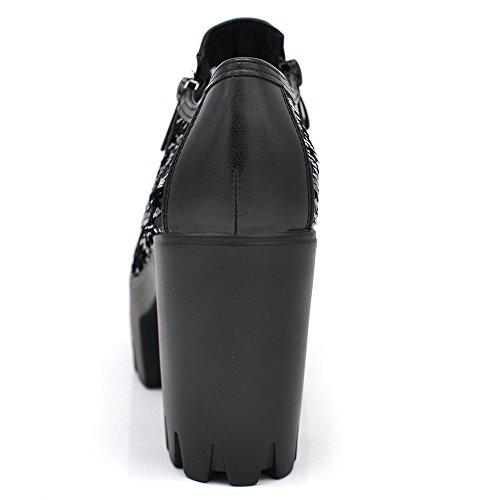 Sconosciuto Fashion Scarpe Donna Ecopelle Zeppa Carro Armato Platform Tronchetti Pizzo Merletto B98 IF160 nero