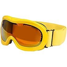 SG de 118Anti UV de doble lente de verkratzt Anti-Fog Anti Skate Esquí Snowboard Gafas con justierbarem Jacquard de sujeción para niños (Amarillo)