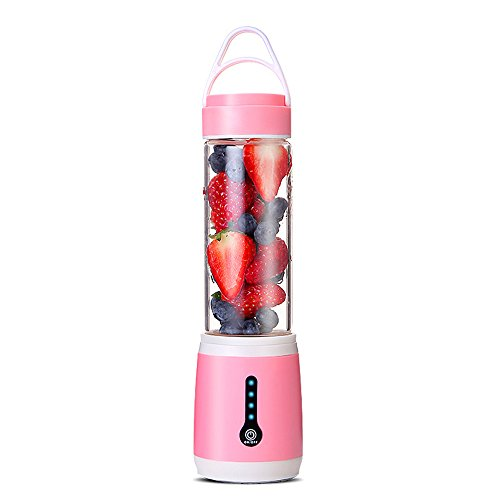 Zhanghaidong Licuadora Portátil Juicer Portátil Rosa Copa Mezclador De Frutas Eléctrico USB Juice Blender Recargable 600Ml Seis Cuchillas En 3D para Una Excelente Mezcla