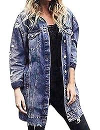CLOOM Lange Loch Jeansjacke mit Modischer Waschung Damen Mantel Jacke Damen Mode Mantel Frühling Herbst Winter Stilvoll Oversize Cardigan Windbreaker Jacke Damen Sweatshirt übergangsjacke