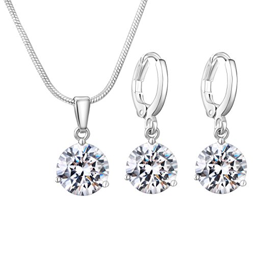 CARSINEL AA Cubic Zirconia Solitaire Pendant Necklace Earrings Jewellery Set for Women