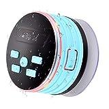 TechVibe Bluetooth-Lautsprecher, IPX7, tragbar, kabellos, wasserfest, für Dusche, FM-Radio, LED-Lichter, Super Bass HD Sound – 2018 Modell blau blau