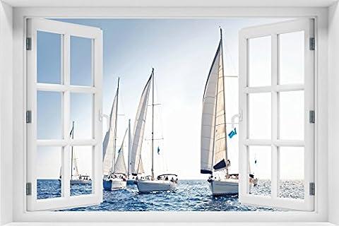 Wallario Acrylglasbild mit Fenster-Illusion: Motiv Segelschiff auf dem Meer - 60 x 90 cm mit Fensterrahmen in Premium-Qualität: Brillante Farben, freischwebende (Illusion Glas Schiff)