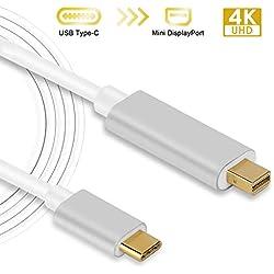 Câble Thunderbolt USB Type C vers Mini Displayport/Mini DP Mâle à Mâle 4K 60Hz Résolution Convertisseur 6FT pour Apple Nouveau Macbook, MacBook Pro 2017 /2016, Samsung Galaxy S8 and Dell XPS 15 13