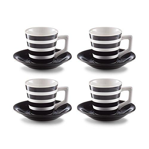 Zeller 26560Juego de café, Loza, Negro/Blanco, 28.4X 13.8x 6.4cm, 8Unidades
