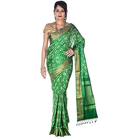 Rajarams Green Coloured Floral Pattern Patola Pure
