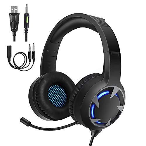 Samoleus Gaming Auriculares con Microfono, Cascos Gaming PS4 PC Xbox One, Cascos...