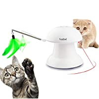 Vealind Automatic Interactive Play 2 in 1 Rotating Light Cat Dog Toy with USB Charging, 360 Degree and 4 Feather & Light Patterns for Pets