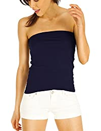 Bestyledberlin Damen Tube Top, Basic trägerloses Oberteil, Bustier Top t18p-marineblau 40-42