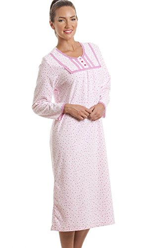 Camille - Chemise de nuit classique à manches longues - polaire - rose clair/motif à pois Rose