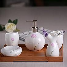Ensemble di bagno,5 pezzo di osso materiale porcellana fiori rosa,bagno Accessori Set
