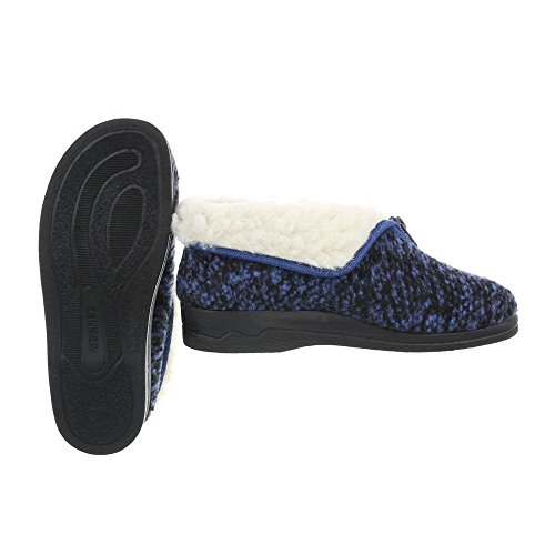 Pantofole Design Italiano Pantofole Da Donna Pantofole Calde Cerniere Imbottite Scarpe Casual Blu