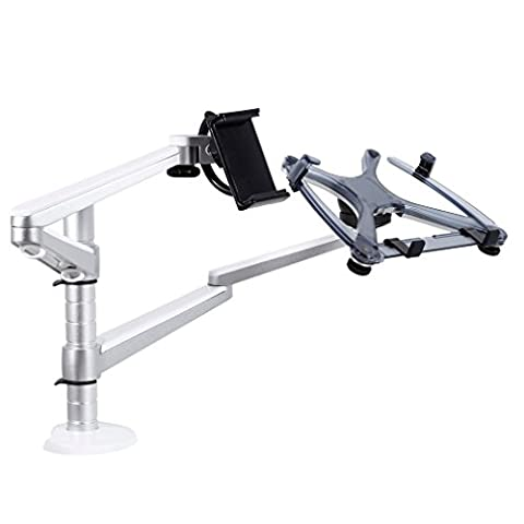 Support pour Moniteur LESHP Support de Table Support de Moniteur 2 en 1 Support Réglable en Aluminium Combinaison Support Double Bras OA-9X pour Moniteurs d'Ordinateur Portable et de Tablette (3)