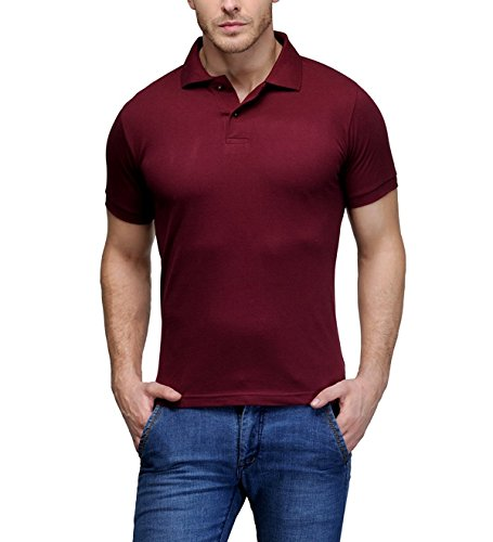 Kalpit Men's Comfort Soft Premium Cotton plain Polo Collar Half Sleeve T-Shirt with Solid Color (Available in many colours) (MAROON, Large)