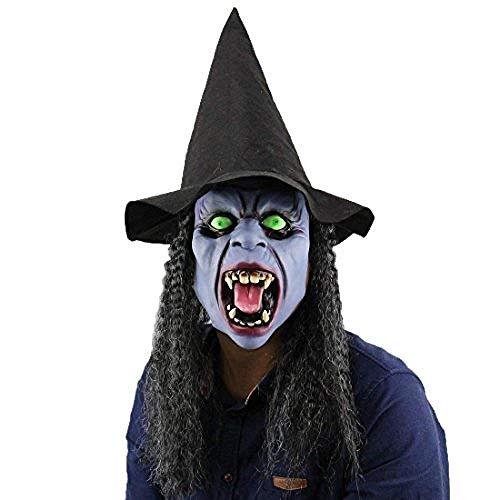Hexenmaske mit schwarzen Langen Haaren und Hut