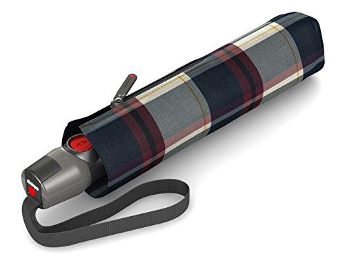 Knirps T.200 Taschenschirm Duomatic Check Navy&Bordeaux - inkl. Futteral im Schirmdesign - Hochqualitative Verarbeitung - 100{f74fef656218a985405d54501fde8e0290dddc32810e280aed8ce8ab721c7cd8} Polyester - Windkanal getestet - kompakt, komfortabel u. zuverlässig