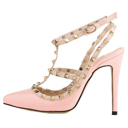 Oasap Femme Chaussure A Talons Hauts Rivet Décoration Talons Aiguilles Bout Fermé pink